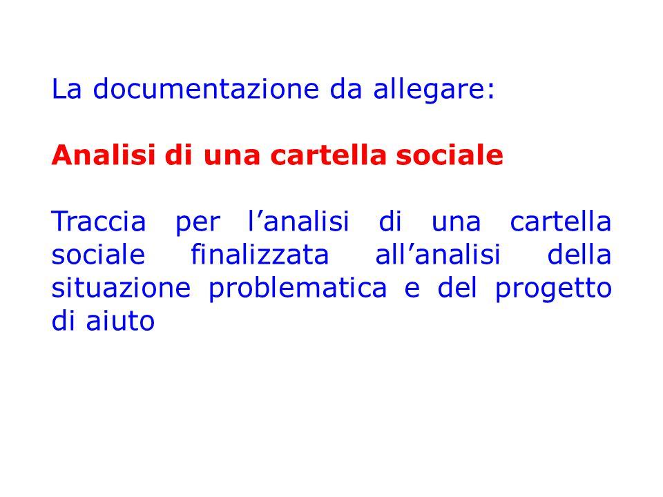 La documentazione da allegare: Analisi di una cartella sociale Traccia per l'analisi di una cartella sociale finalizzata all'analisi della situazione problematica e del progetto di aiuto
