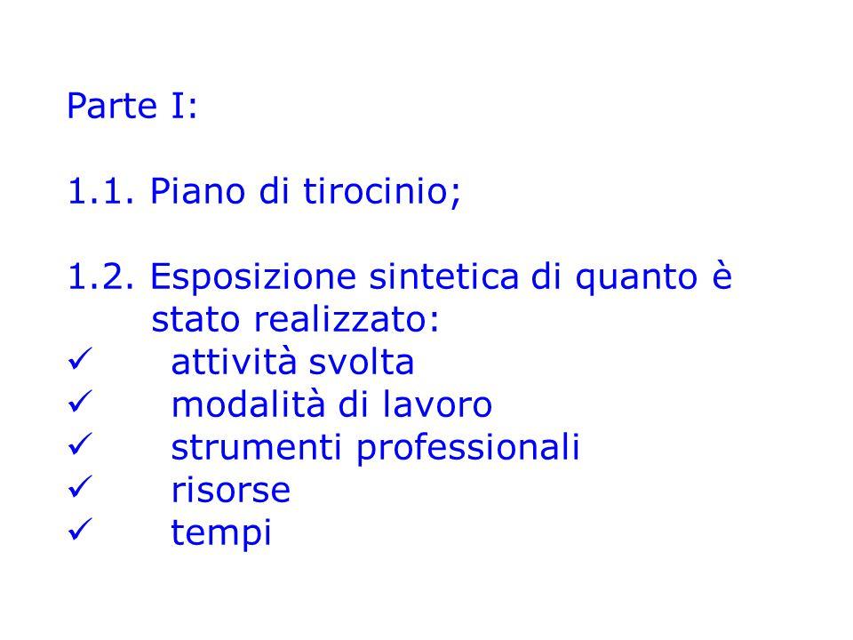 Parte I: 1.1.Piano di tirocinio; 1.2.