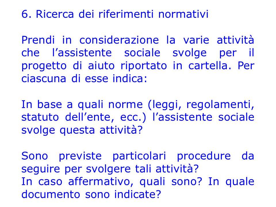 6. Ricerca dei riferimenti normativi Prendi in considerazione la varie attività che l'assistente sociale svolge per il progetto di aiuto riportato in