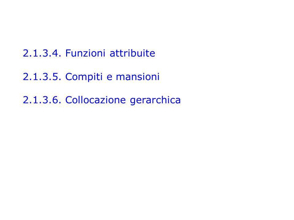 2.1.3.4. Funzioni attribuite 2.1.3.5. Compiti e mansioni 2.1.3.6. Collocazione gerarchica