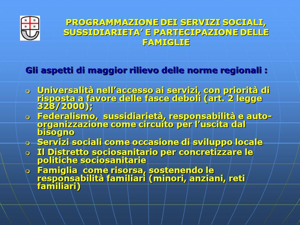 Gli aspetti di maggior rilievo delle norme regionali :  Universalità nell'accesso ai servizi, con priorità di risposta a favore delle fasce deboli (art.