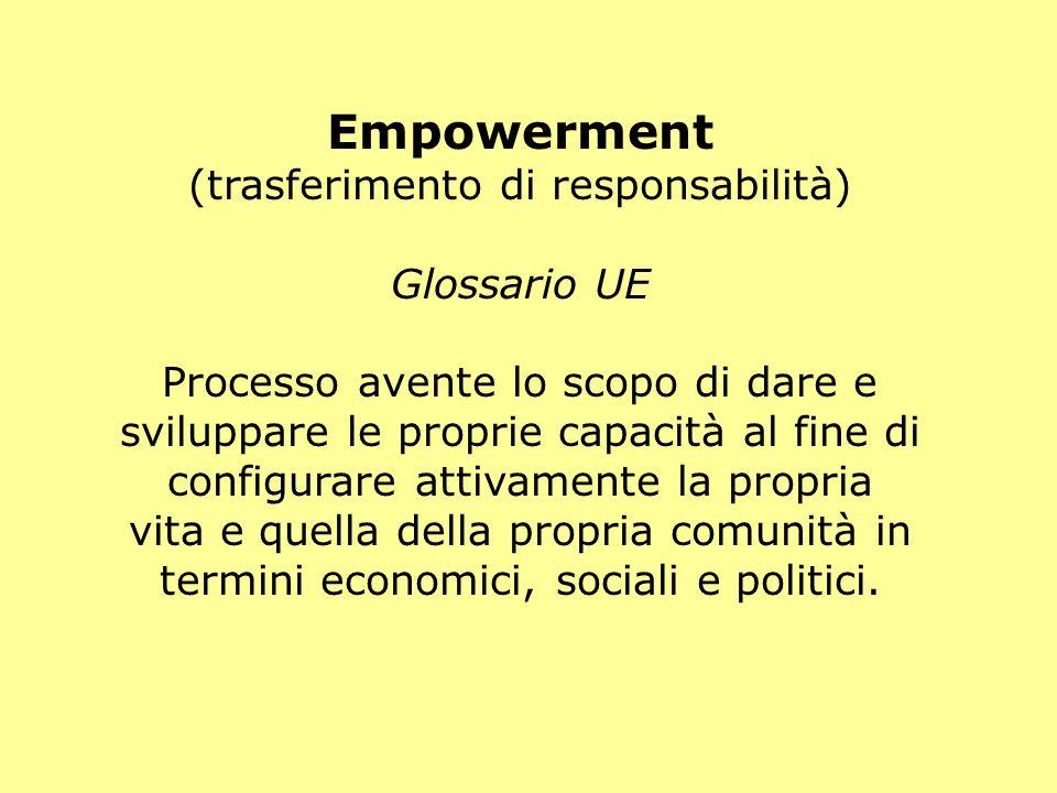 Empowerment (trasferimento di responsabilità) Glossario UE Processo avente lo scopo di dare e sviluppare le proprie capacità al fine di configurare attivamente la propria vita e quella della propria comunità in termini economici, sociali e politici.
