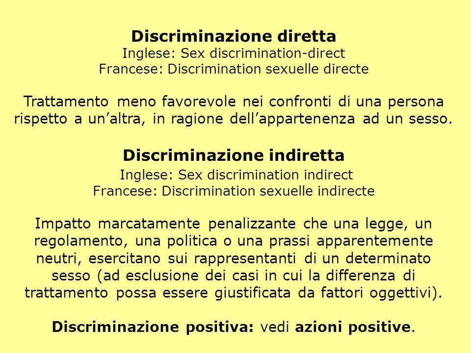 Discriminazione diretta Inglese: Sex discrimination-direct Francese: Discrimination sexuelle directe Trattamento meno favorevole nei confronti di una persona rispetto a un'altra, in ragione dell'appartenenza ad un sesso.