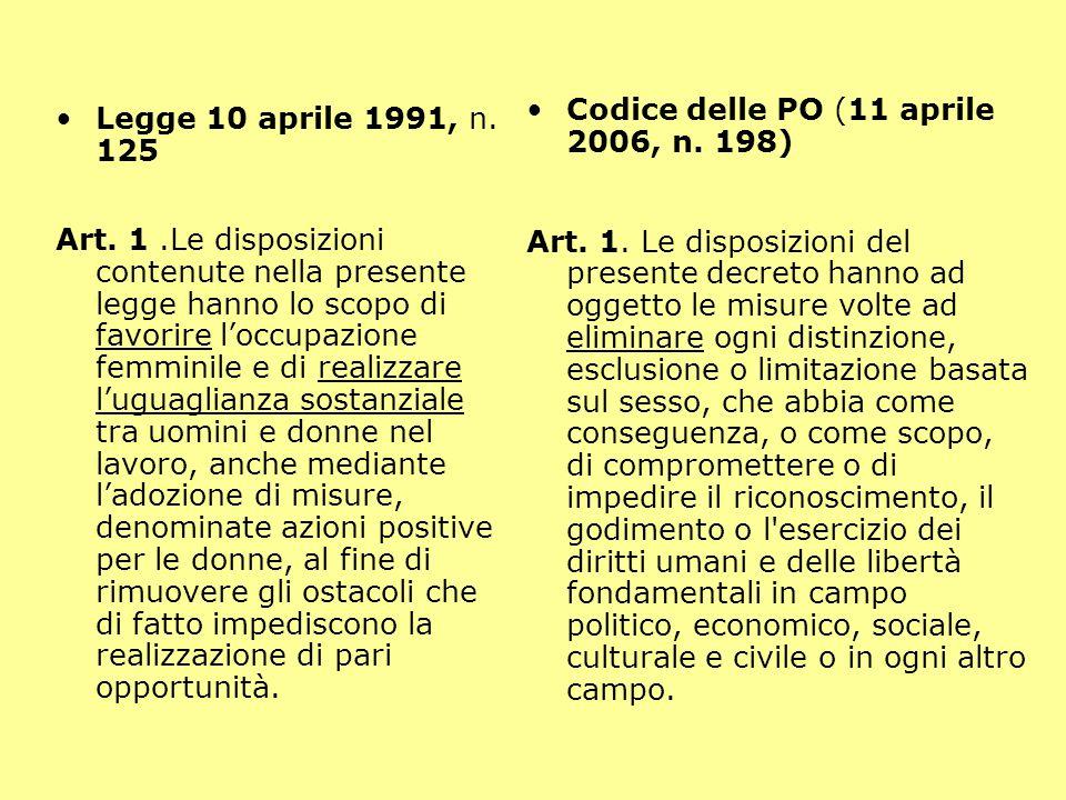 Legge 10 aprile 1991, n.125 Art.
