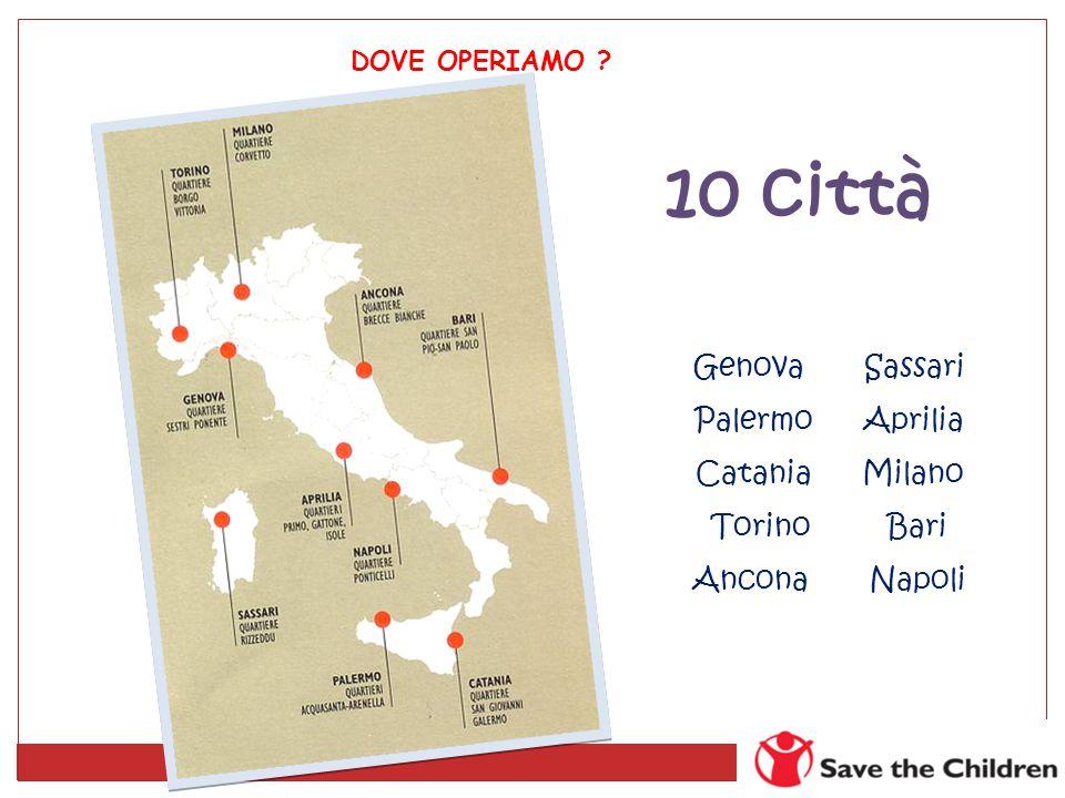 10 città Genova Sassari Palermo Aprilia Catania Milano Torino Bari Ancona Napoli DOVE OPERIAMO