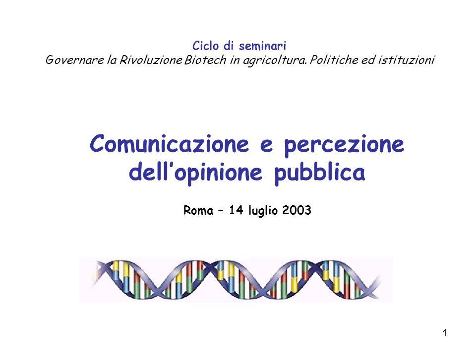 1 Comunicazione e percezione dell'opinione pubblica Roma – 14 luglio 2003 Ciclo di seminari Governare la Rivoluzione Biotech in agricoltura.