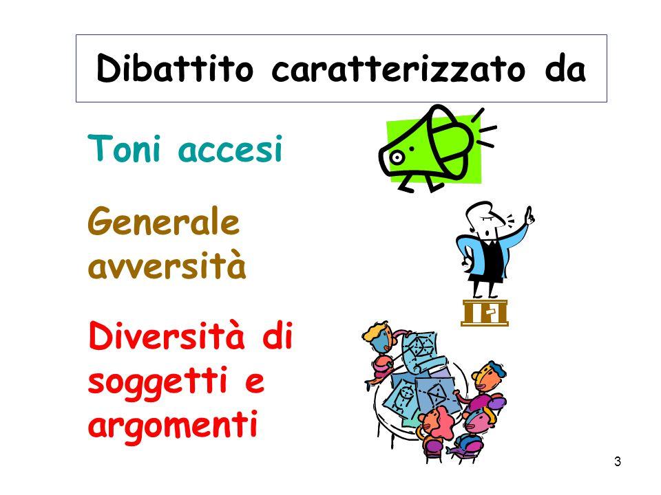 3 Dibattito caratterizzato da Toni accesi Generale avversità Diversità di soggetti e argomenti