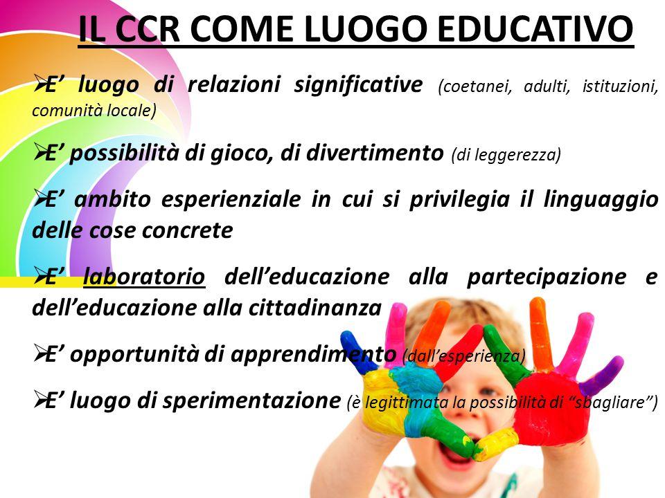 IL CCR COME LUOGO EDUCATIVO  E' luogo di relazioni significative (coetanei, adulti, istituzioni, comunità locale)  E' possibilità di gioco, di diver