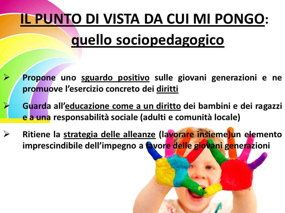 IL PUNTO DI VISTA DA CUI MI PONGO : quello sociopedagogico  Propone uno sguardo positivo sulle giovani generazioni e ne promuove l'esercizio concreto