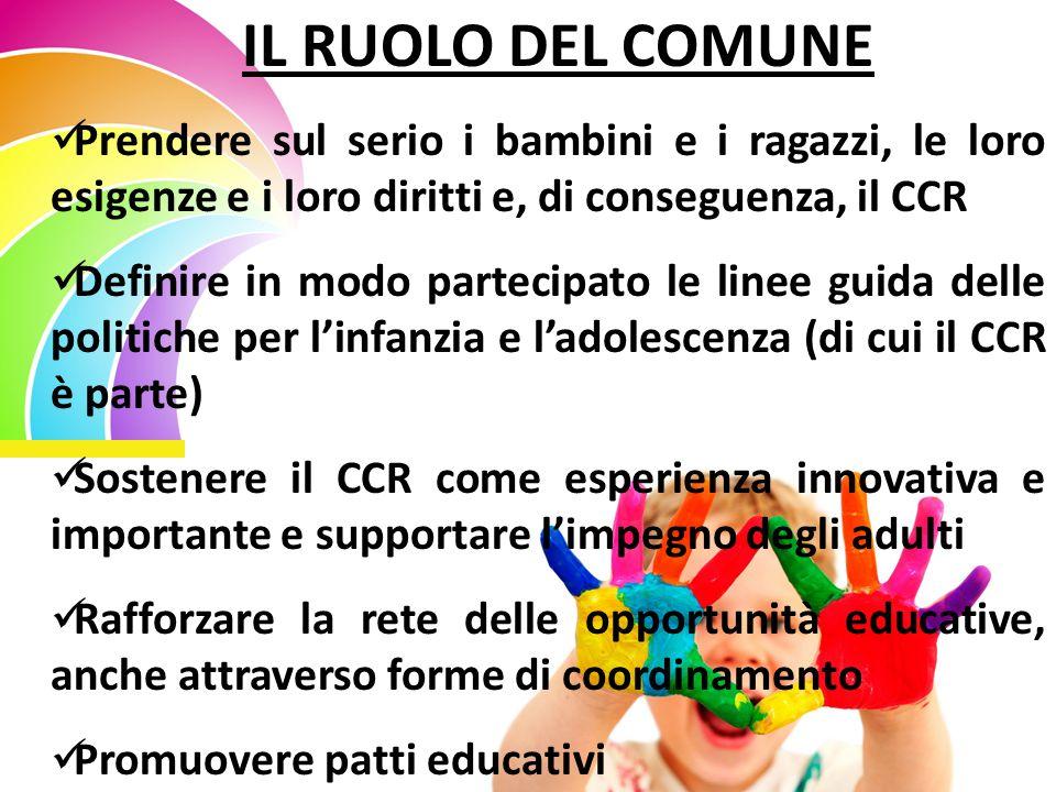 IL RUOLO DEL COMUNE Prendere sul serio i bambini e i ragazzi, le loro esigenze e i loro diritti e, di conseguenza, il CCR Definire in modo partecipato le linee guida delle politiche per l'infanzia e l'adolescenza (di cui il CCR è parte) Sostenere il CCR come esperienza innovativa e importante e supportare l'impegno degli adulti Rafforzare la rete delle opportunità educative, anche attraverso forme di coordinamento Promuovere patti educativi