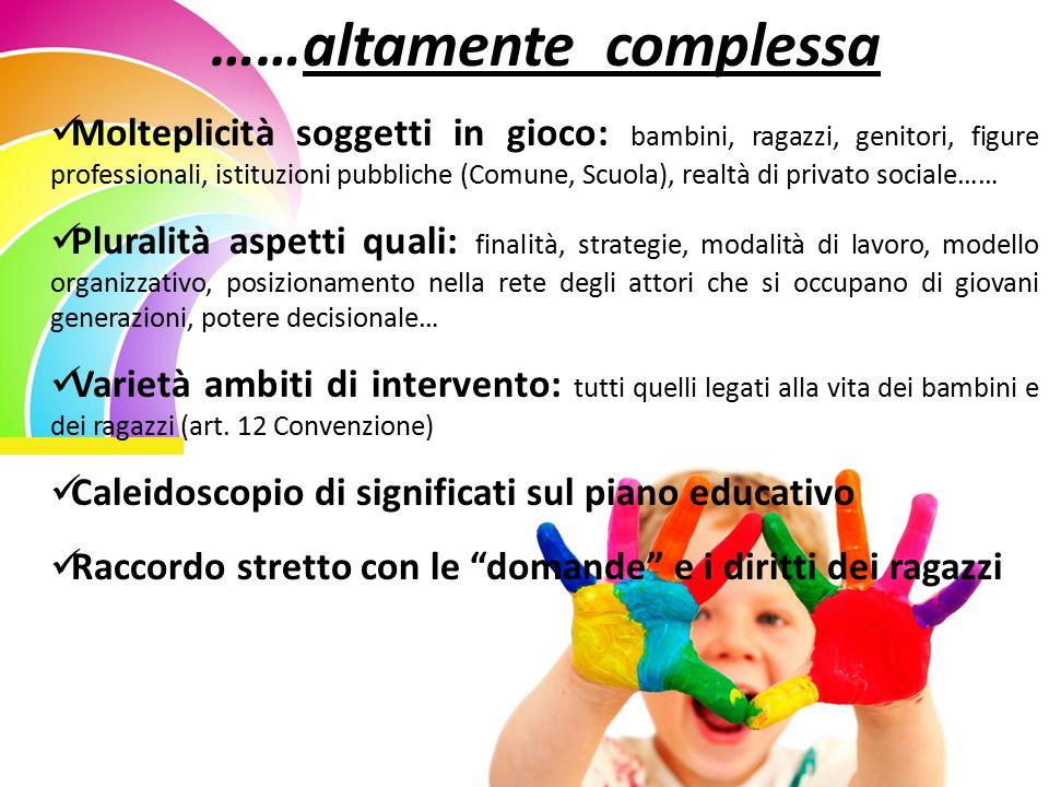 ……altamente complessa Molteplicità soggetti in gioco: bambini, ragazzi, genitori, figure professionali, istituzioni pubbliche (Comune, Scuola), realtà
