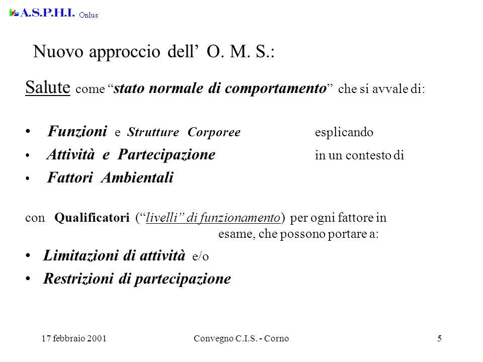 17 febbraio 2001Convegno C.I.S. - Corno5 Nuovo approccio dell' O.