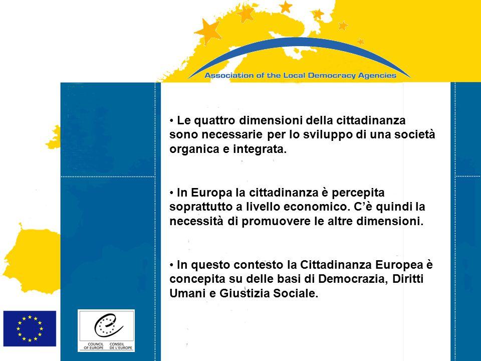 Strasbourg 05/06/07 Strasbourg 31/07/07 Le quattro dimensioni della cittadinanza sono necessarie per lo sviluppo di una società organica e integrata.