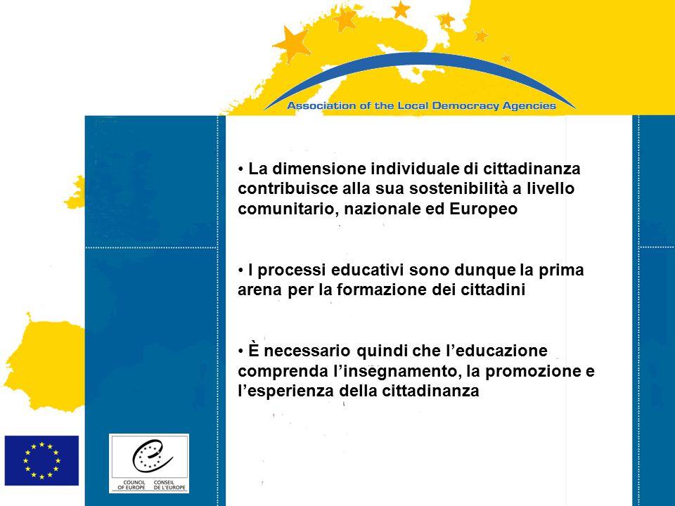 Strasbourg 05/06/07 Strasbourg 31/07/07 La dimensione individuale di cittadinanza contribuisce alla sua sostenibilità a livello comunitario, nazionale ed Europeo I processi educativi sono dunque la prima arena per la formazione dei cittadini È necessario quindi che l'educazione comprenda l'insegnamento, la promozione e l'esperienza della cittadinanza