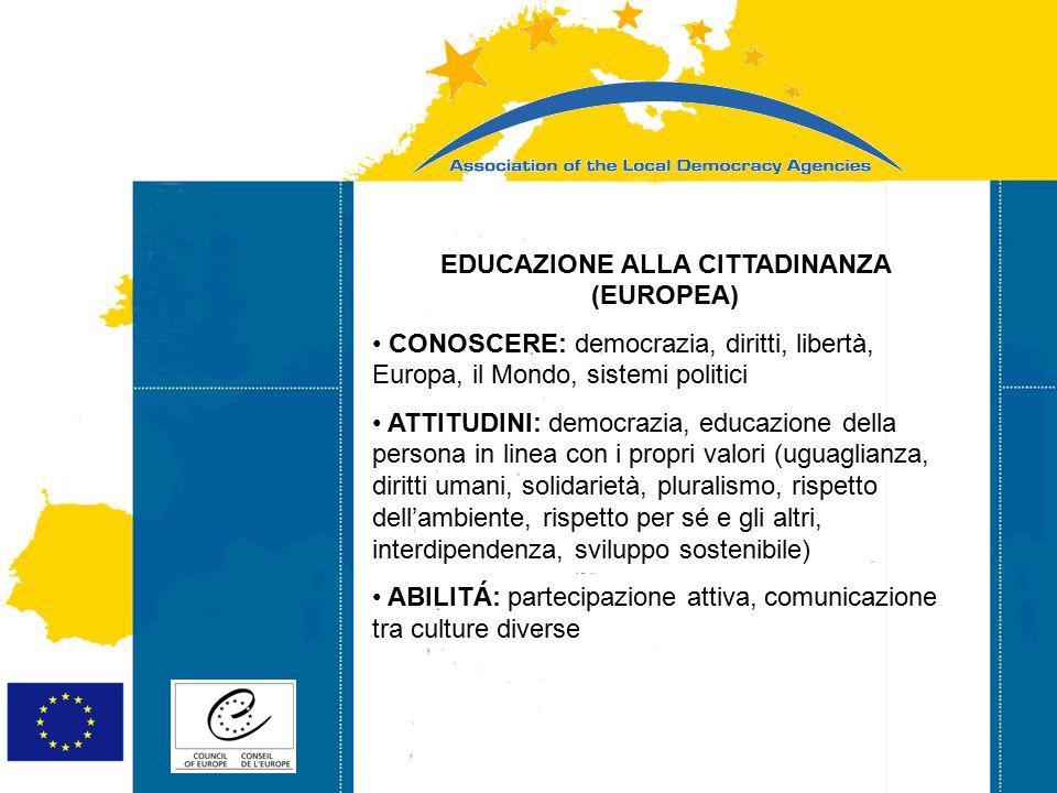 Strasbourg 05/06/07 Strasbourg 31/07/07 EDUCAZIONE ALLA CITTADINANZA (EUROPEA) CONOSCERE: democrazia, diritti, libertà, Europa, il Mondo, sistemi poli