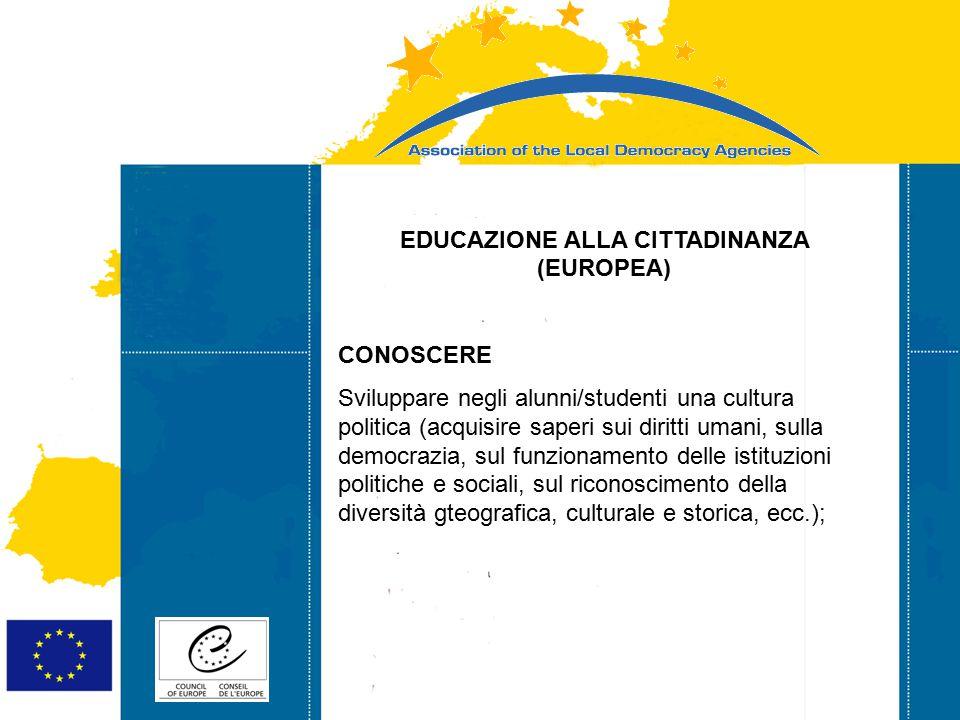 Strasbourg 05/06/07 Strasbourg 31/07/07 EDUCAZIONE ALLA CITTADINANZA (EUROPEA) CONOSCERE Sviluppare negli alunni/studenti una cultura politica (acquisire saperi sui diritti umani, sulla democrazia, sul funzionamento delle istituzioni politiche e sociali, sul riconoscimento della diversità gteografica, culturale e storica, ecc.);