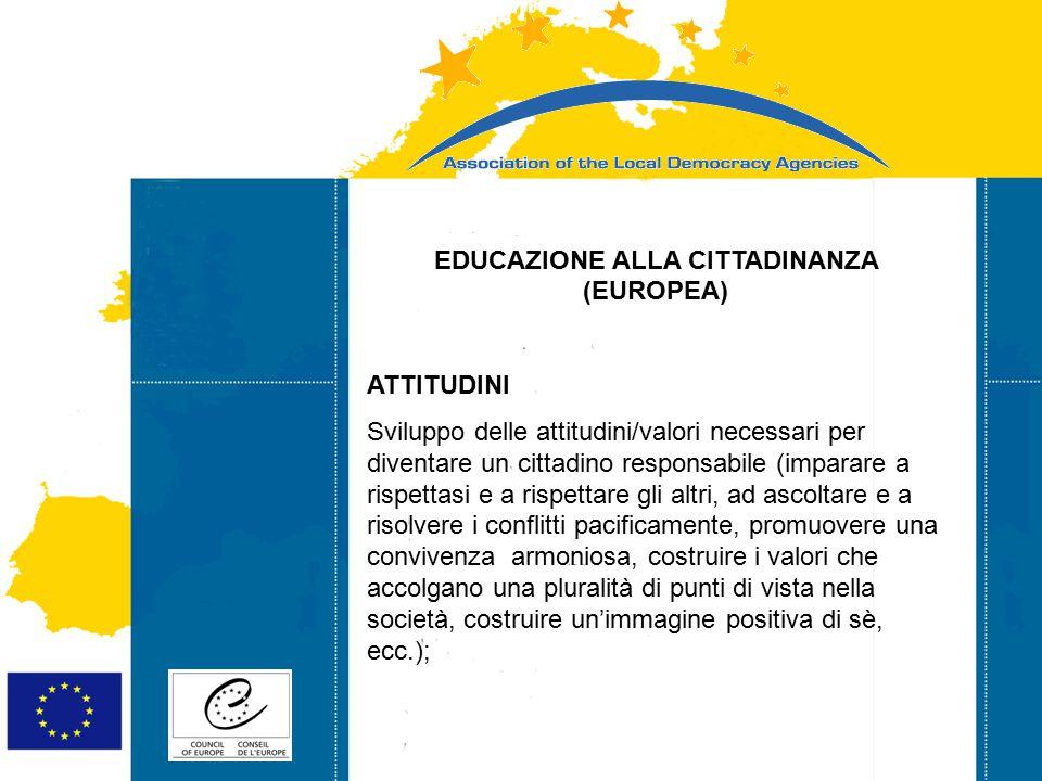 Strasbourg 05/06/07 Strasbourg 31/07/07 EDUCAZIONE ALLA CITTADINANZA (EUROPEA) ATTITUDINI Sviluppo delle attitudini/valori necessari per diventare un