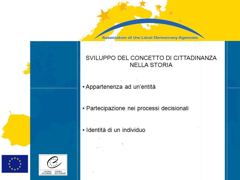 Strasbourg 05/06/07 Strasbourg 31/07/07 SVILUPPO DEL CONCETTO DI CITTADINANZA NELLA STORIA Appartenenza ad un'entità Partecipazione nei processi decis
