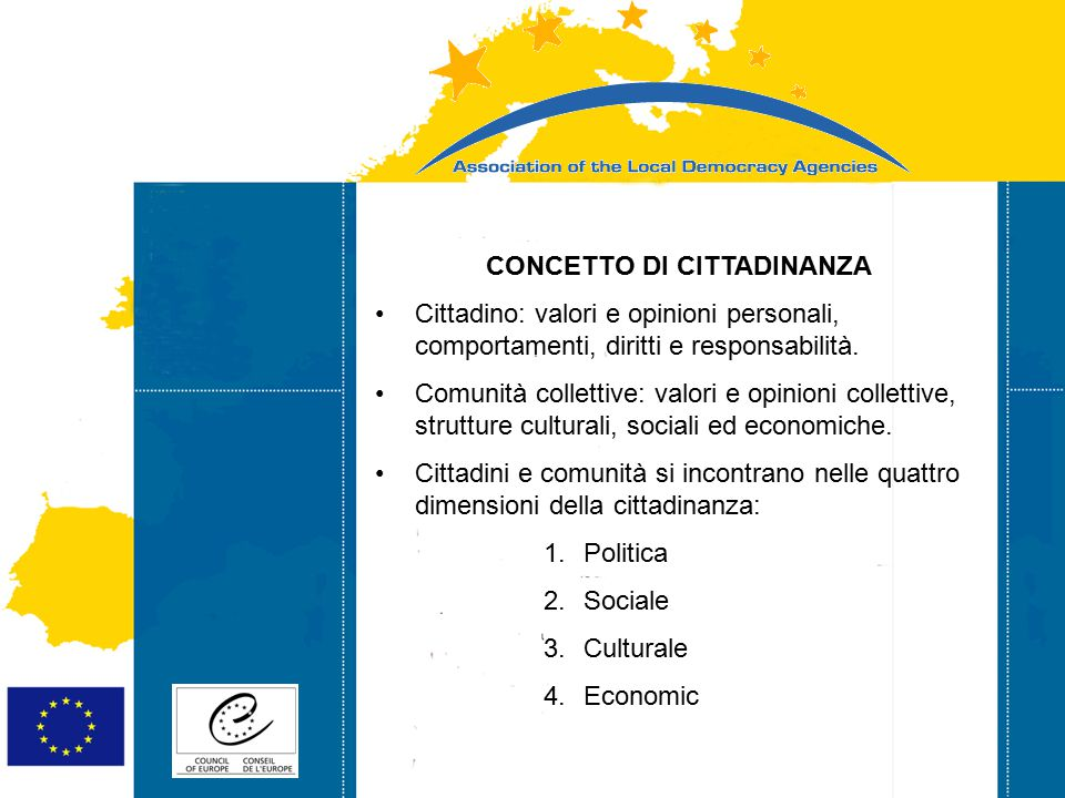 Strasbourg 05/06/07 Strasbourg 31/07/07 CONCETTO DI CITTADINANZA Cittadino: valori e opinioni personali, comportamenti, diritti e responsabilità.