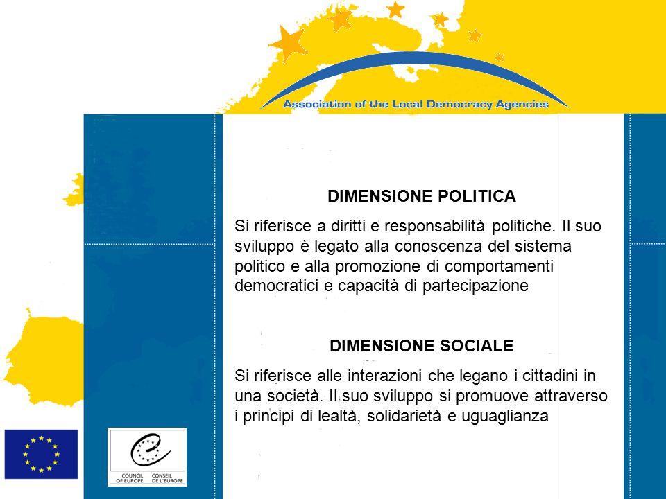 Strasbourg 05/06/07 Strasbourg 31/07/07 DIMENSIONE POLITICA Si riferisce a diritti e responsabilità politiche. Il suo sviluppo è legato alla conoscenz
