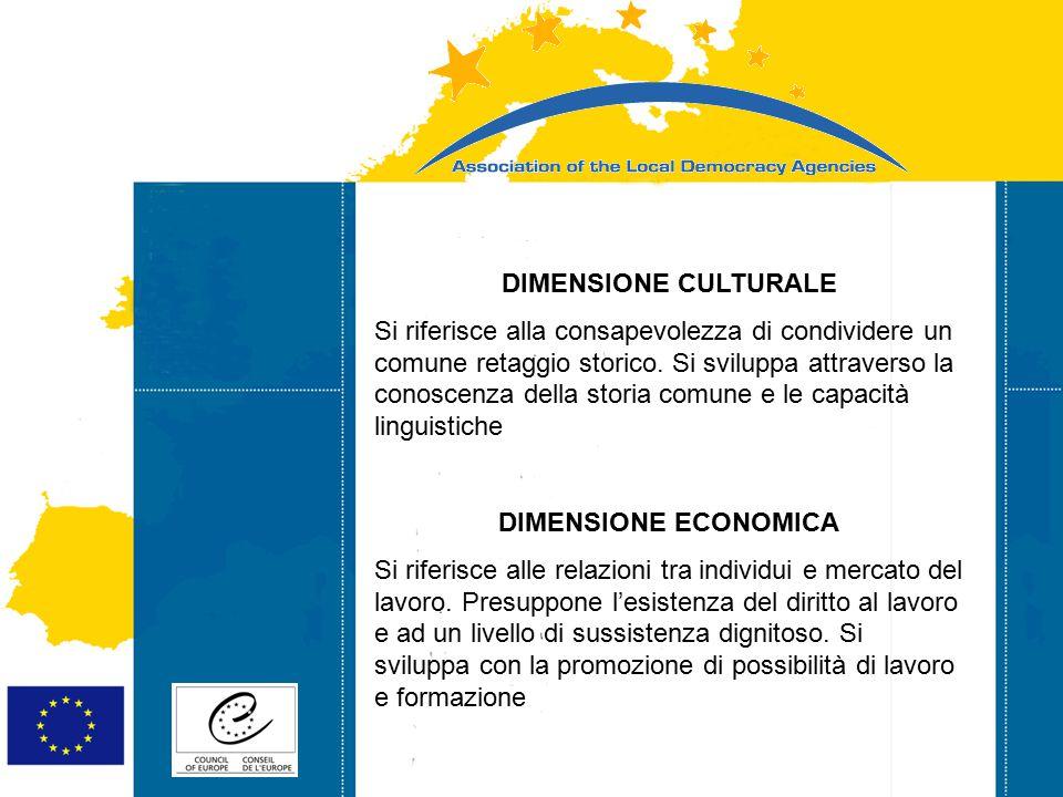 Strasbourg 05/06/07 Strasbourg 31/07/07 DIMENSIONE CULTURALE Si riferisce alla consapevolezza di condividere un comune retaggio storico. Si sviluppa a