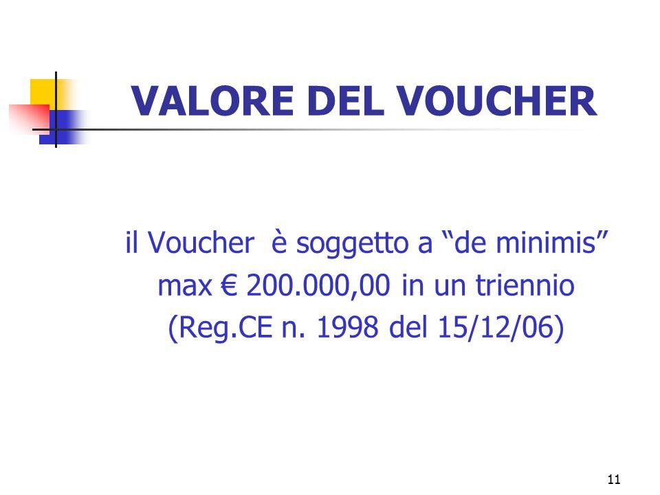 11 VALORE DEL VOUCHER il Voucher è soggetto a de minimis max € 200.000,00 in un triennio (Reg.CE n.
