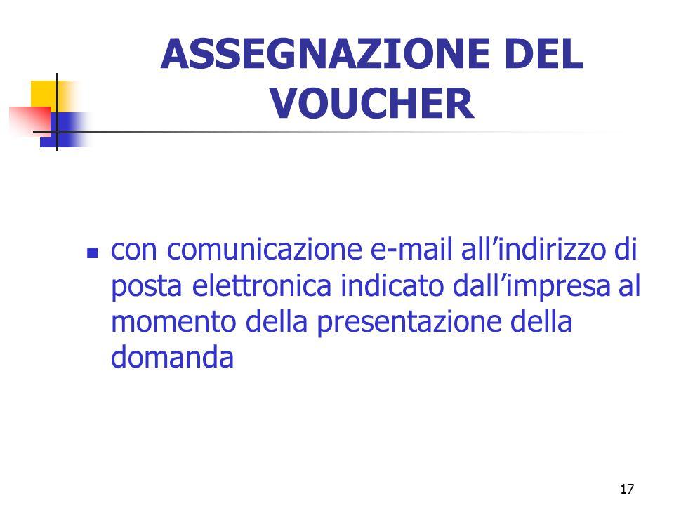 17 ASSEGNAZIONE DEL VOUCHER con comunicazione e-mail all'indirizzo di posta elettronica indicato dall'impresa al momento della presentazione della domanda