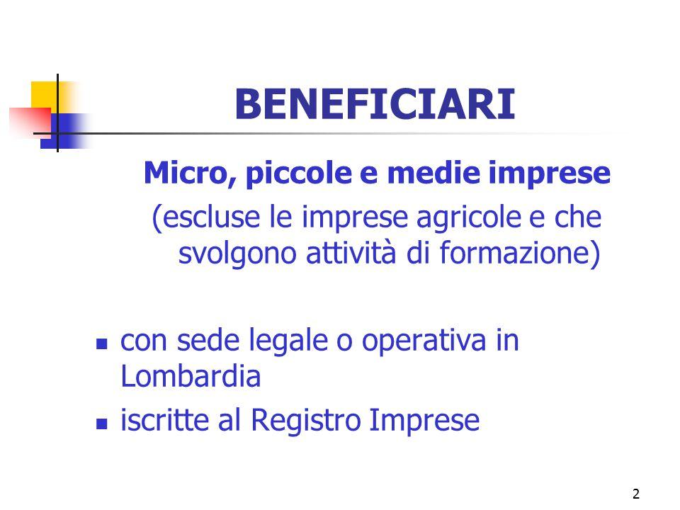 2 BENEFICIARI Micro, piccole e medie imprese (escluse le imprese agricole e che svolgono attività di formazione) con sede legale o operativa in Lombardia iscritte al Registro Imprese