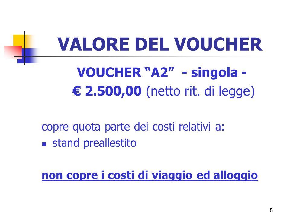 8 VALORE DEL VOUCHER VOUCHER A2 - singola - € 2.500,00 (netto rit.