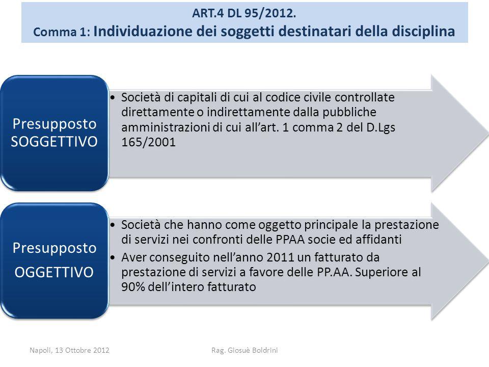 Napoli, 13 Ottobre 2012Rag. Giosuè Boldrini ART.4 DL 95/2012. Comma 1: Individuazione dei soggetti destinatari della disciplina Società di capitali di