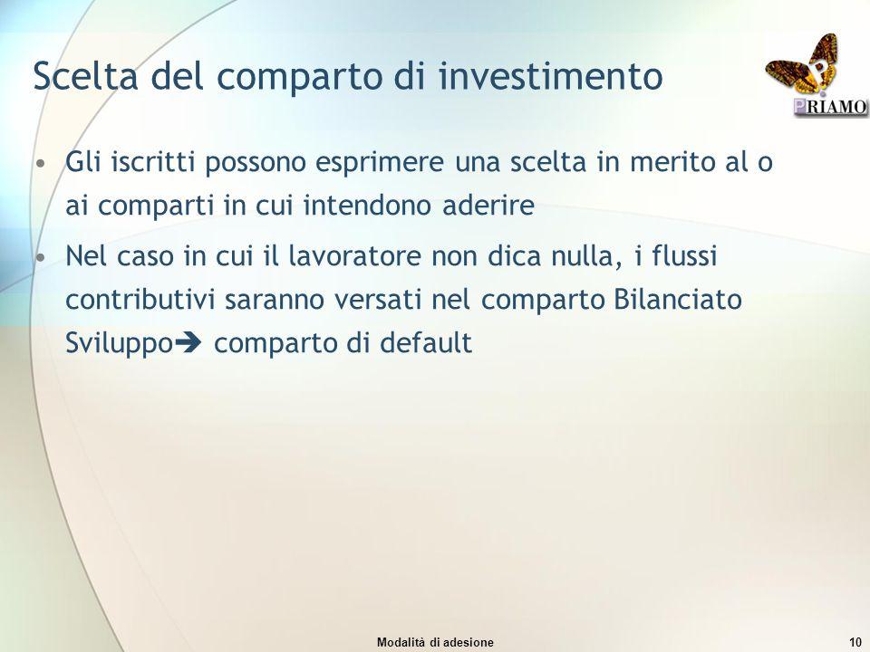 Modalità di adesione10 Scelta del comparto di investimento Gli iscritti possono esprimere una scelta in merito al o ai comparti in cui intendono aderi