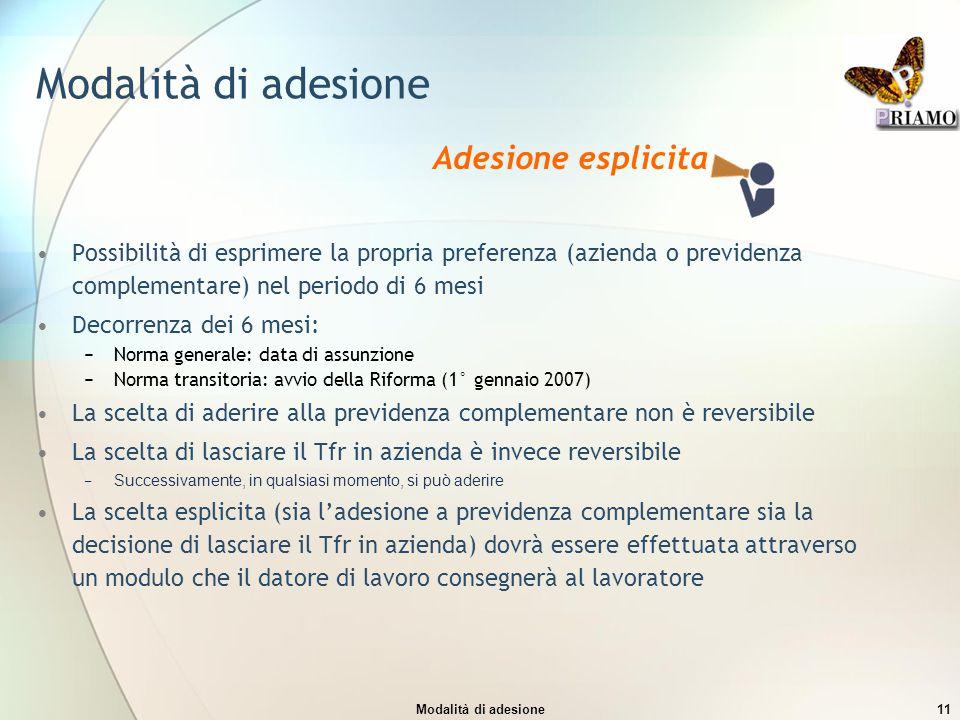 Modalità di adesione11 Modalità di adesione Possibilità di esprimere la propria preferenza (azienda o previdenza complementare) nel periodo di 6 mesi