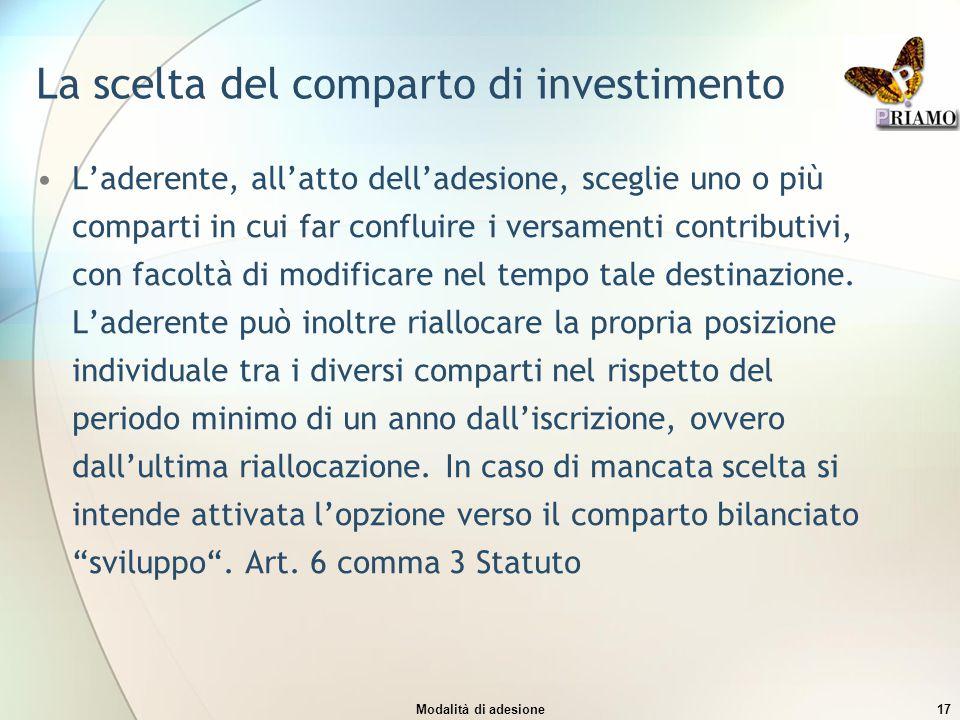 Modalità di adesione17 La scelta del comparto di investimento L'aderente, all'atto dell'adesione, sceglie uno o più comparti in cui far confluire i ve