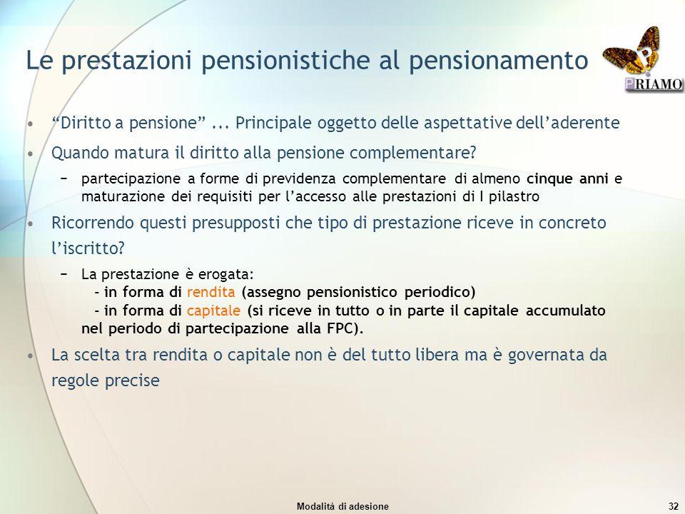 """Modalità di adesione32 Le prestazioni pensionistiche al pensionamento """"Diritto a pensione""""... Principale oggetto delle aspettative dell'aderente Quand"""