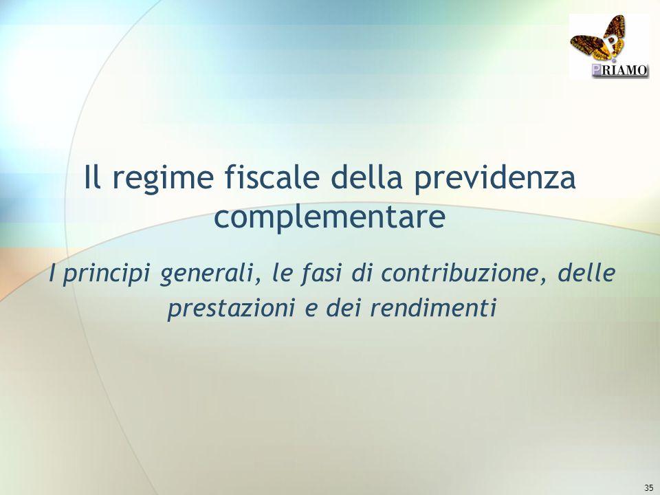 35 Il regime fiscale della previdenza complementare I principi generali, le fasi di contribuzione, delle prestazioni e dei rendimenti
