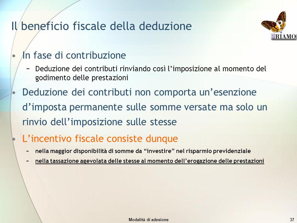 Modalità di adesione37 Il beneficio fiscale della deduzione In fase di contribuzione −Deduzione dei contributi rinviando così l'imposizione al momento
