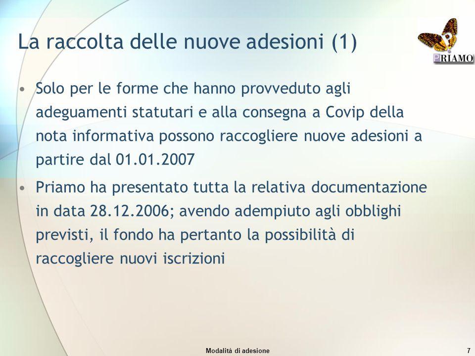 Modalità di adesione7 La raccolta delle nuove adesioni (1) Solo per le forme che hanno provveduto agli adeguamenti statutari e alla consegna a Covip d