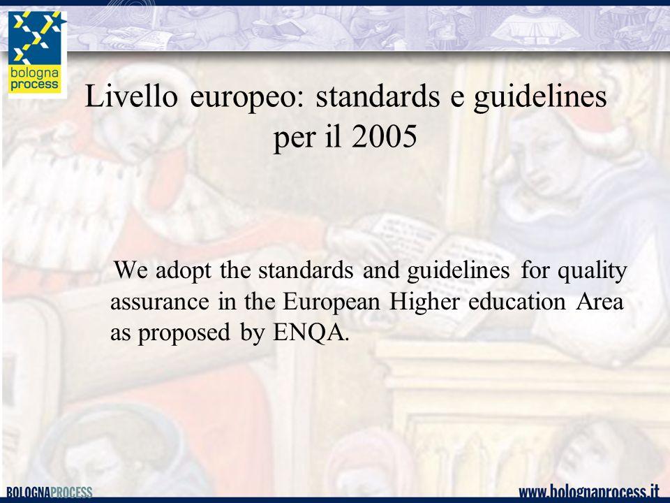 Il livello europeo Criteri base per le agenzie di assicurazione di qualità (documento ENQA): Necessità di: 1.Utilizzare i criteri e processi di assicurazione esterna (elencati sopra) 2.Base legale e stato ufficiale 3.Attività regolare 4.Risorse 5.Obiettivi chiari ed espliciti 6.Indipendenza 7.Criteri, procedure e processi usati devono essere predefiniti e pubblici 8.Esistenza di procedure di accountability delle agenzie