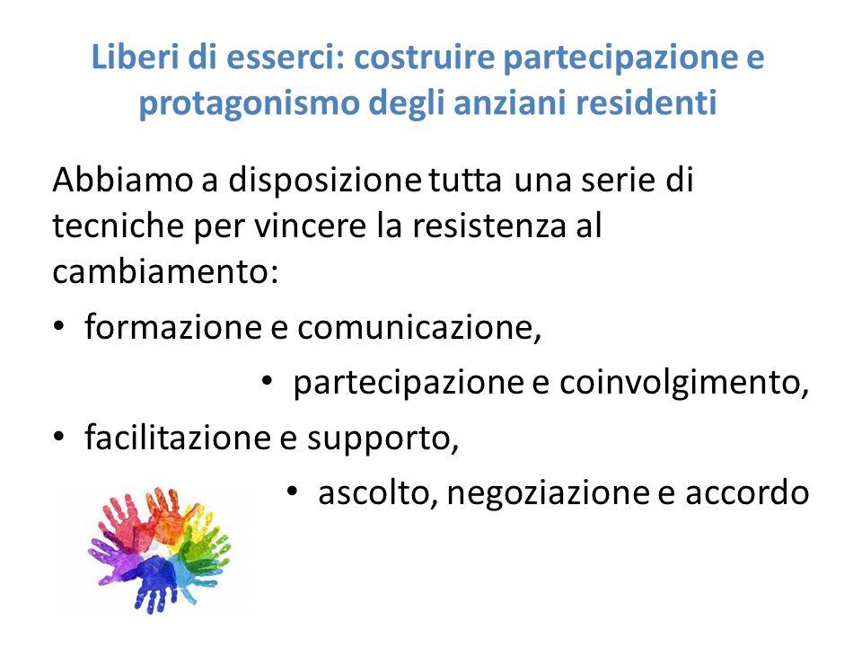 Liberi di esserci: costruire partecipazione e protagonismo degli anziani residenti