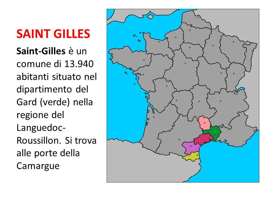 SAINT GILLES Saint-Gilles è un comune di 13.940 abitanti situato nel dipartimento del Gard (verde) nella regione del Languedoc- Roussillon. Si trova a