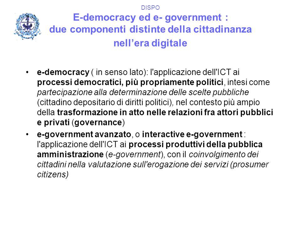 DISPO E-democracy ed e- government : due componenti distinte della cittadinanza nell'era digitale e-democracy ( in senso lato): l'applicazione dell'IC