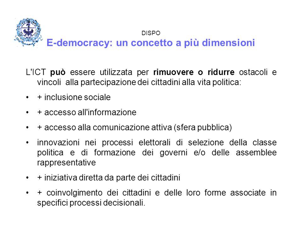 DISPO E-democracy: un concetto a più dimensioni L'ICT può essere utilizzata per rimuovere o ridurre ostacoli e vincoli alla partecipazione dei cittadi