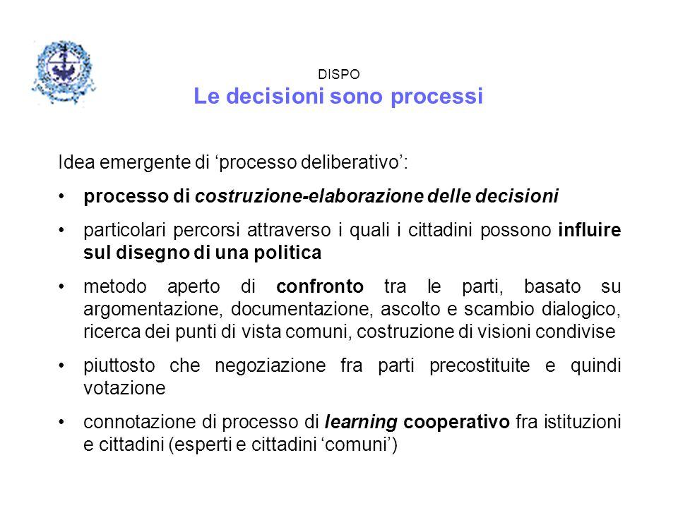 DISPO Le decisioni sono processi Idea emergente di 'processo deliberativo': processo di costruzione-elaborazione delle decisioni particolari percorsi