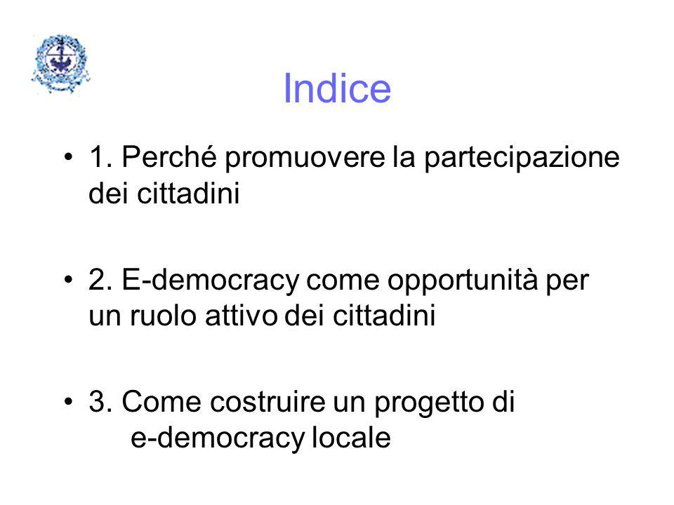 Indice 1. Perché promuovere la partecipazione dei cittadini 2. E-democracy come opportunità per un ruolo attivo dei cittadini 3. Come costruire un pro