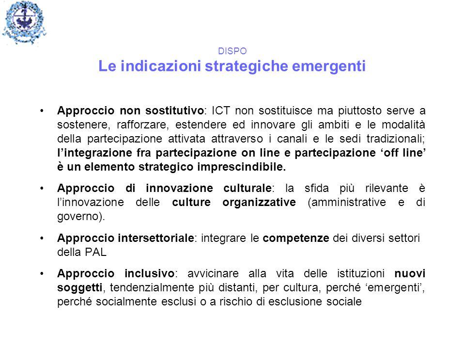 DISPO Le indicazioni strategiche emergenti Approccio non sostitutivo: ICT non sostituisce ma piuttosto serve a sostenere, rafforzare, estendere ed inn