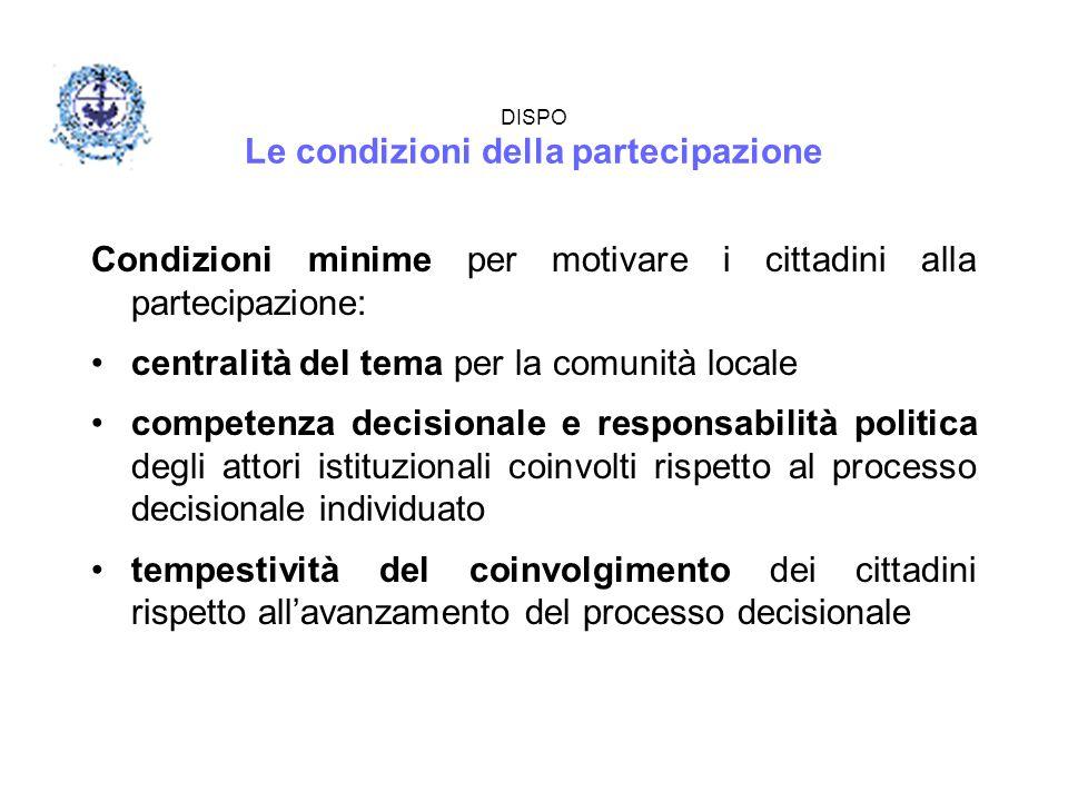 DISPO Le condizioni della partecipazione Condizioni minime per motivare i cittadini alla partecipazione: centralità del tema per la comunità locale co