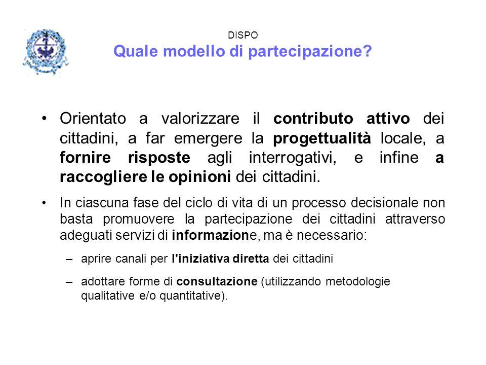 DISPO Quale modello di partecipazione? Orientato a valorizzare il contributo attivo dei cittadini, a far emergere la progettualità locale, a fornire r