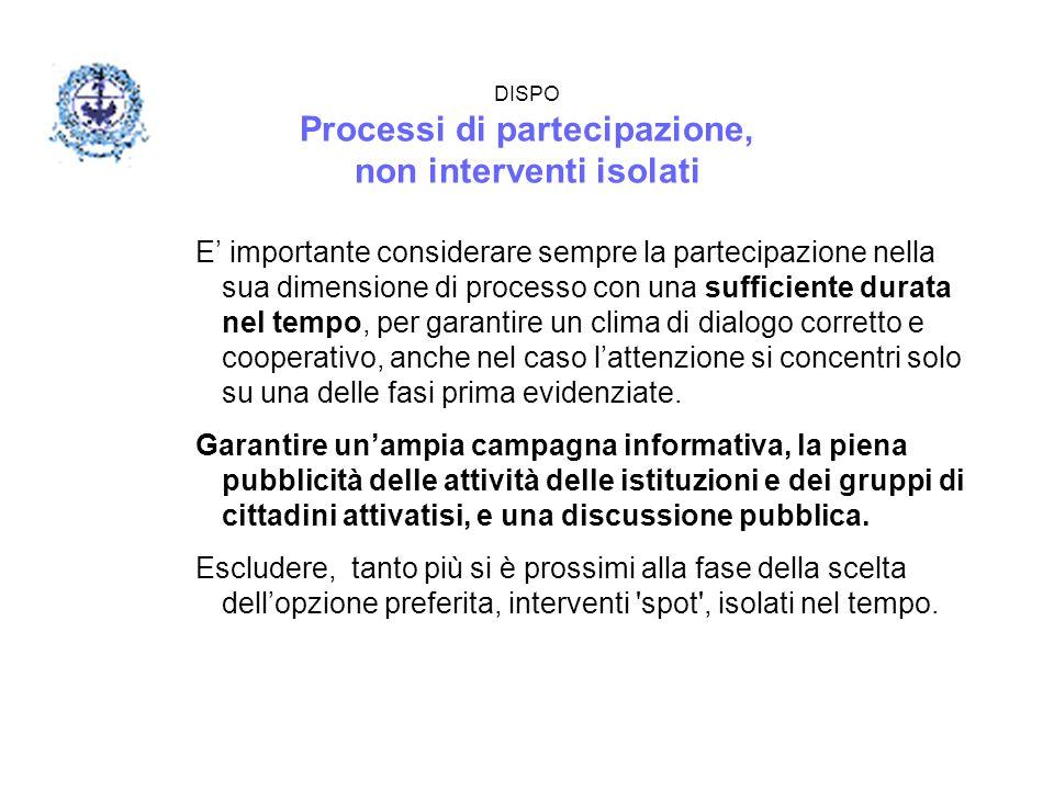 DISPO Processi di partecipazione, non interventi isolati E' importante considerare sempre la partecipazione nella sua dimensione di processo con una s