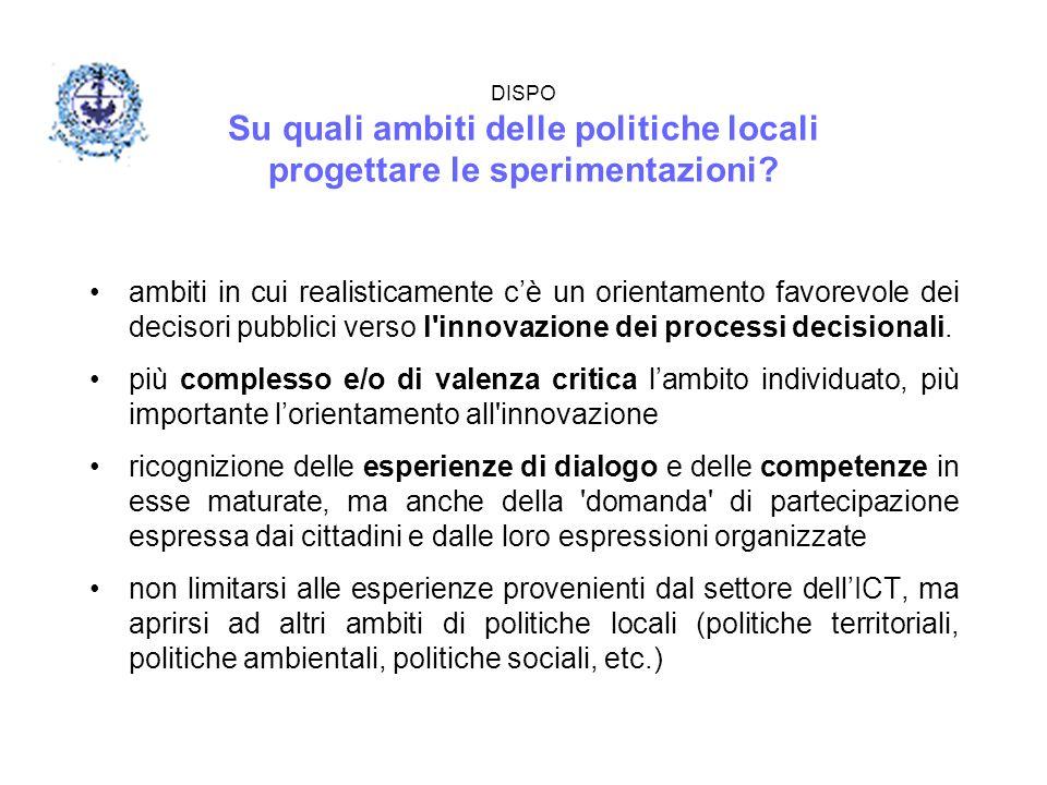 DISPO Su quali ambiti delle politiche locali progettare le sperimentazioni? ambiti in cui realisticamente c'è un orientamento favorevole dei decisori