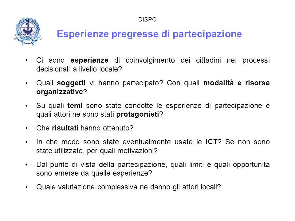 DISPO Esperienze pregresse di partecipazione Ci sono esperienze di coinvolgimento dei cittadini nei processi decisionali a livello locale? Quali sogge